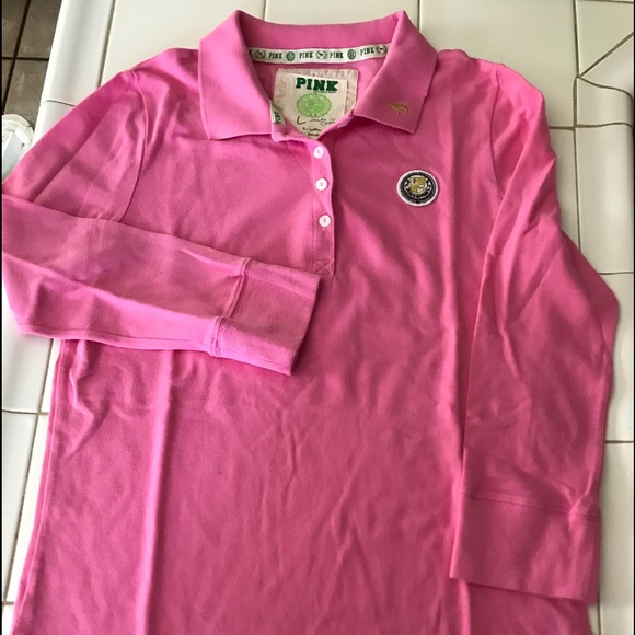 81d98ff284b4a1 PINK Victoria's Secret Tops | Used Pink Long Sleeve Polo Shirt Hot ...